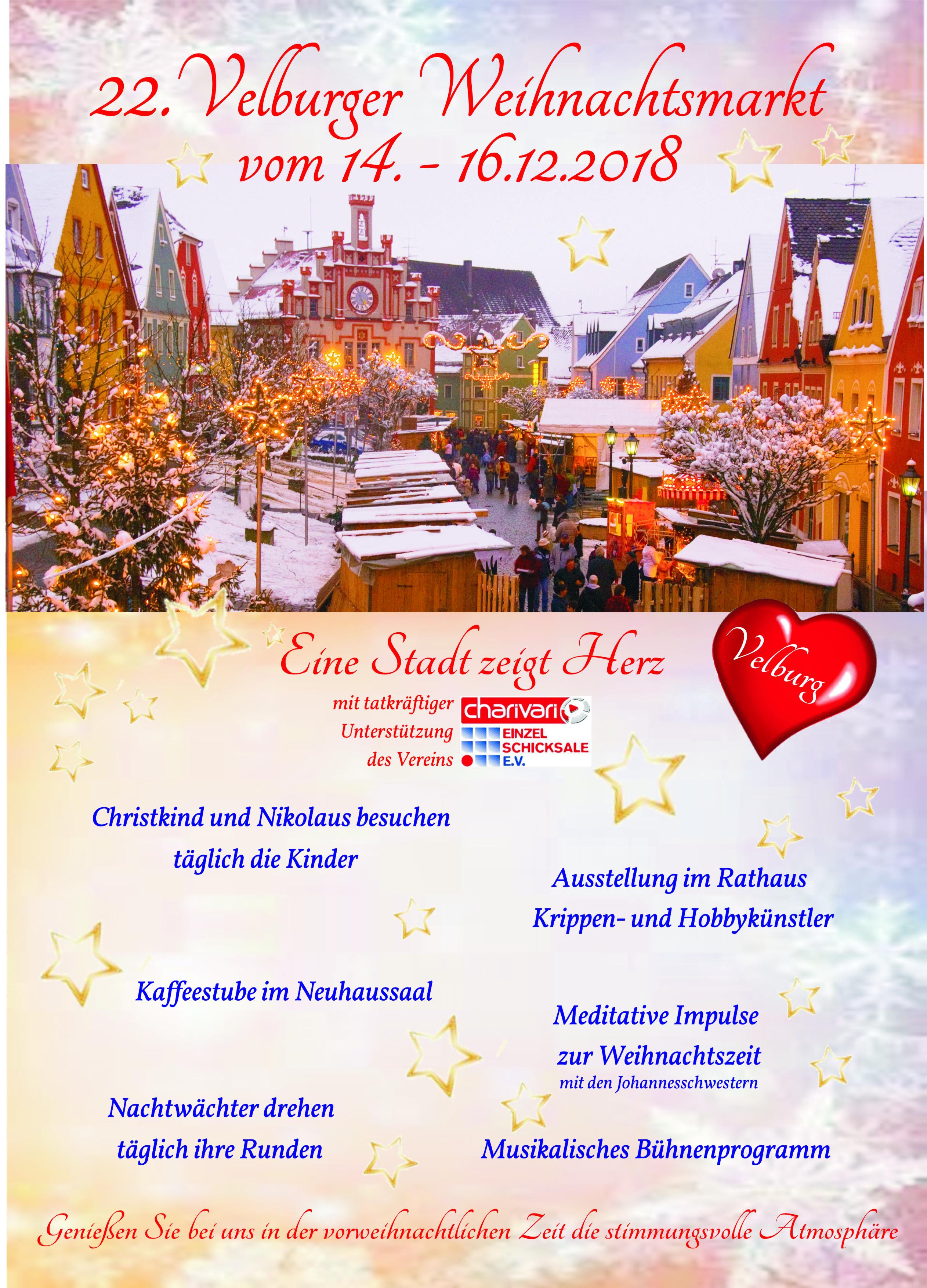 Weihnachtsmarkt in Velburg vom 14.12. bis 16.12.2018